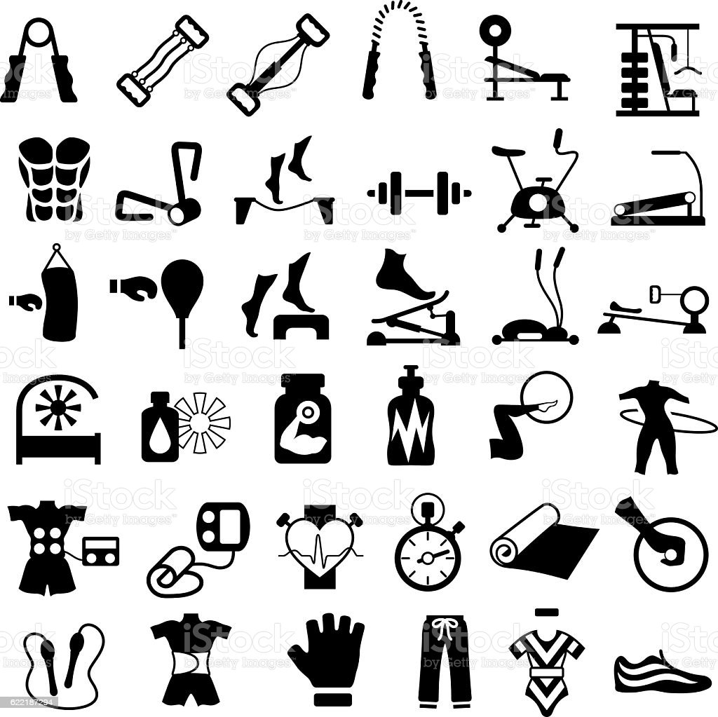 Exercise, Gym and Fitness Equipment - ilustração de arte em vetor