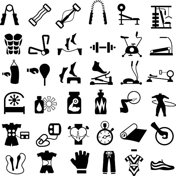 Exercise, Gym and Fitness Equipment Single colour black icons of exercise, gym and fitness equipment exercise machine stock illustrations