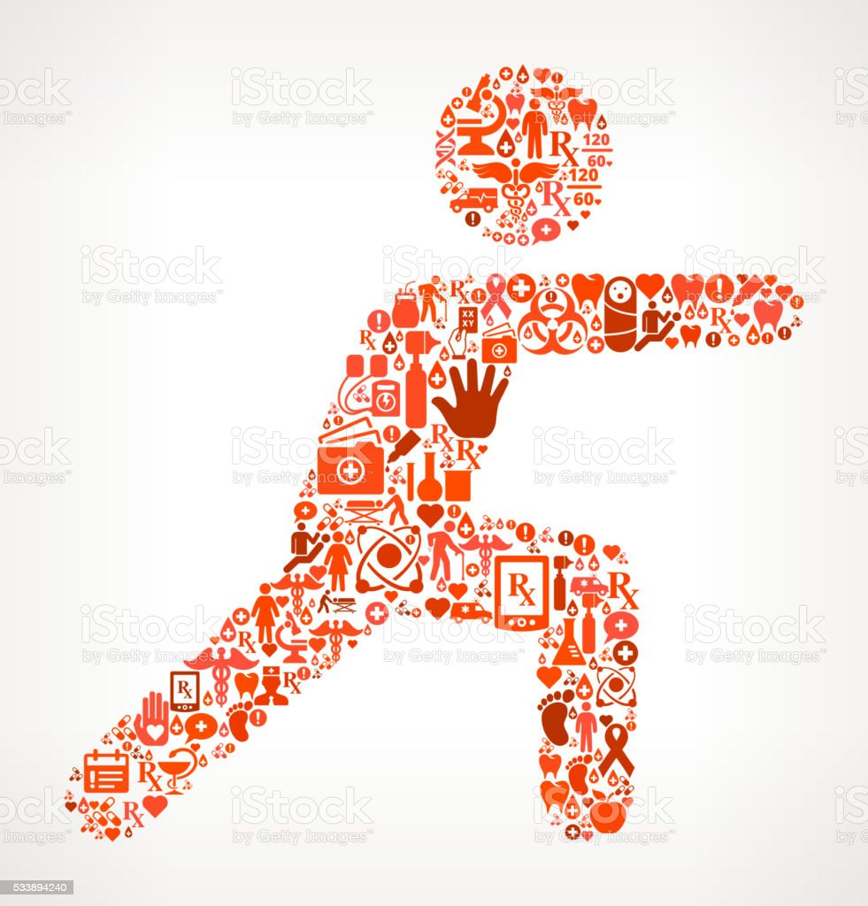 exercise Healthcare and Medicine Seamless Icon Pattern vector art illustration