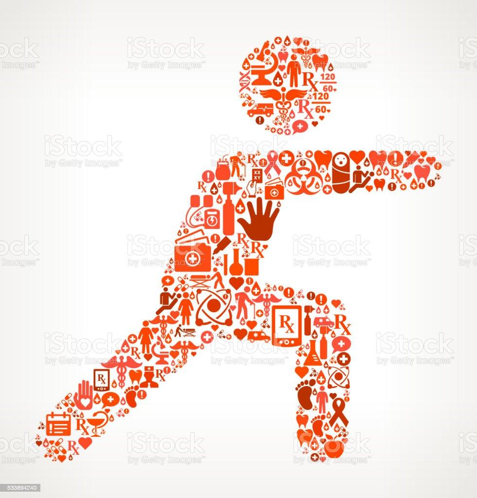 Übung Gesundheitswesen und Medizin, nahtloses Symbol Muster – Vektorgrafik