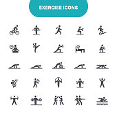 Healthy Lifestyle, Exercising, Gym, Home Training, Bike, Bodybuilding, Swimming, Outline Icon Set