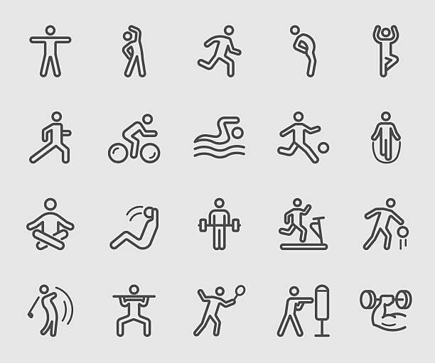 stockillustraties, clipart, cartoons en iconen met exercise line icon - rek