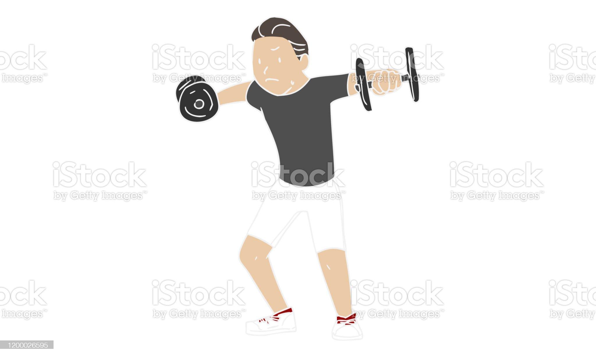 運動筋トレーニングサイドレイズ - 1人のロイヤリティフリーベクトルアート