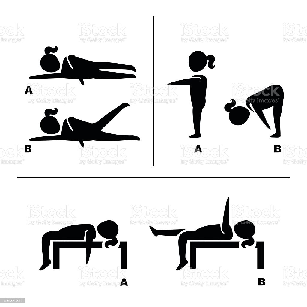 exercise poses for healthy pictograms illustration vector art illustration