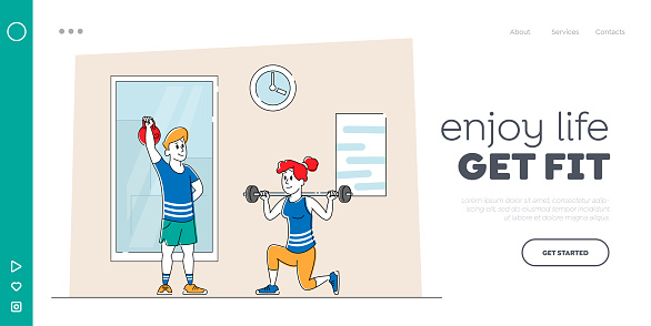 Exercise, Sports Activity Landing Page Template. Characters Training in Gym. Woman Squatting with Weight, Man Lifting Barbell. People Workout, Prepare for Competition. Linear Vector Illustration