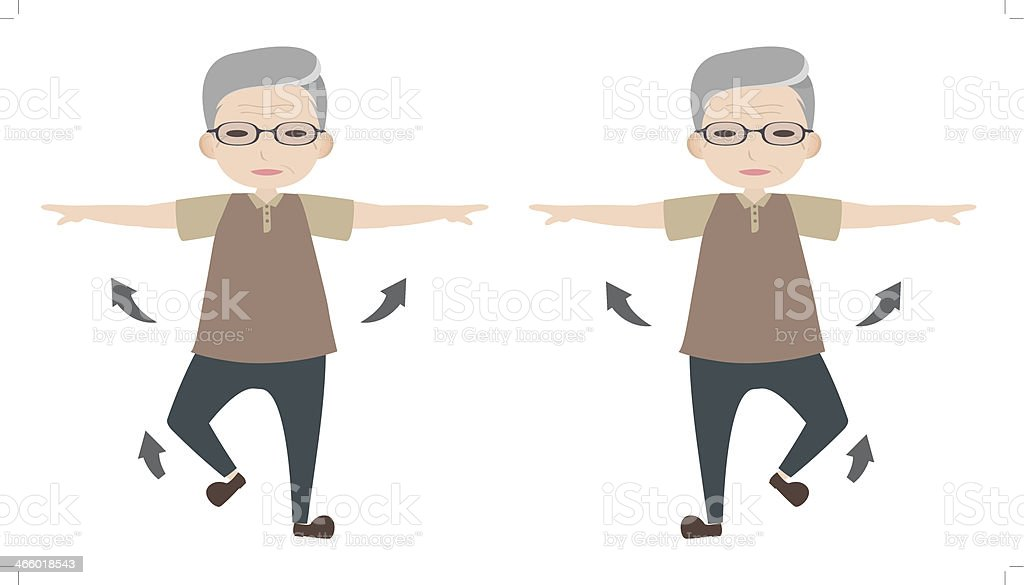 Exercise to healthy elder vector art illustration