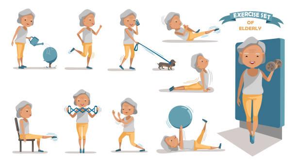 bildbanksillustrationer, clip art samt tecknat material och ikoner med motion - medelålders