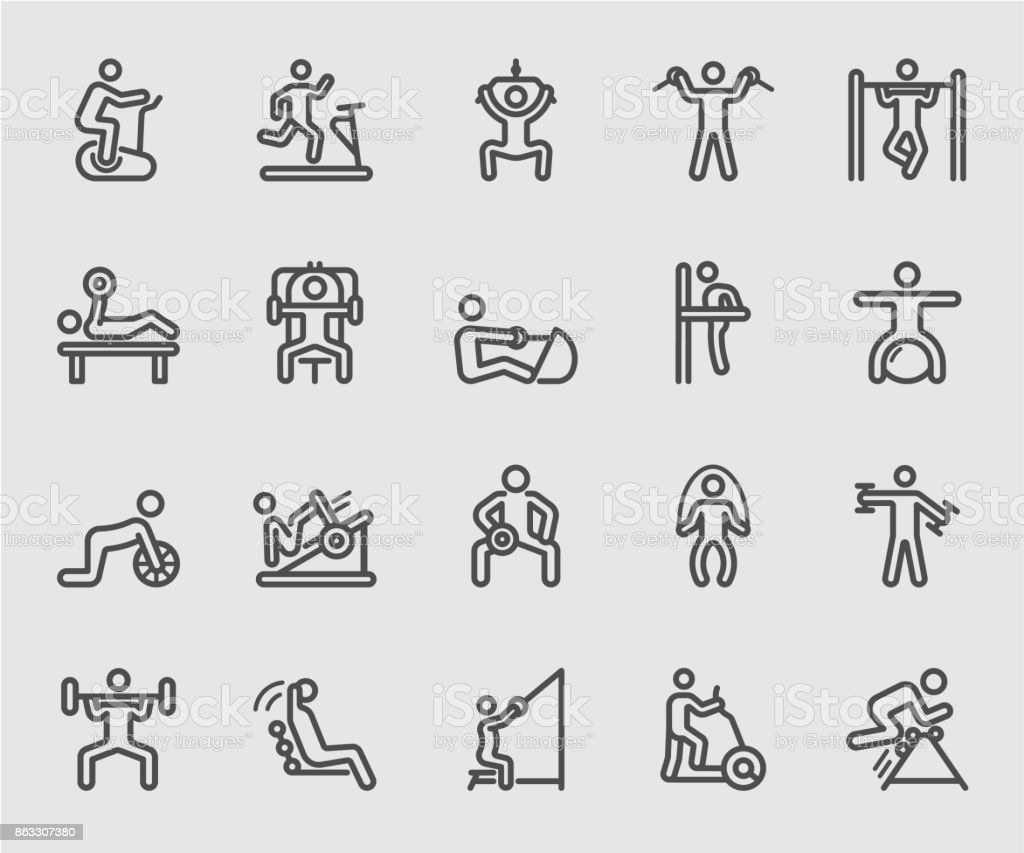 Exercise with equipment line icon vector art illustration