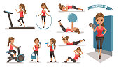 Exercise woman Health female are exercising character design set. Cute girl  Full Body cartoon set. Isolated on white background. vector illustration
