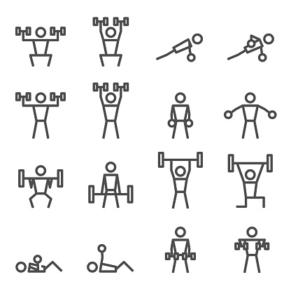 Exercise Workout Fitness Weight Training Vector Icon Stock