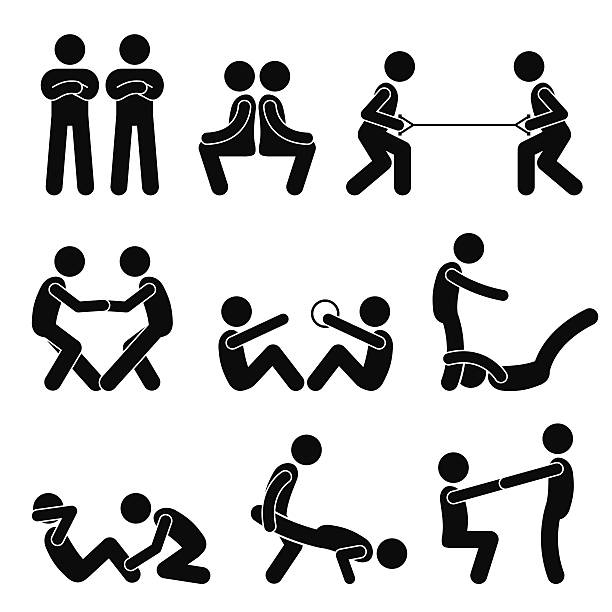 Exercise Workout with a Partner Stick Figure Pictogram Icons A set of human pictogram representing exercising and workout with a partner. looking at camera stock illustrations