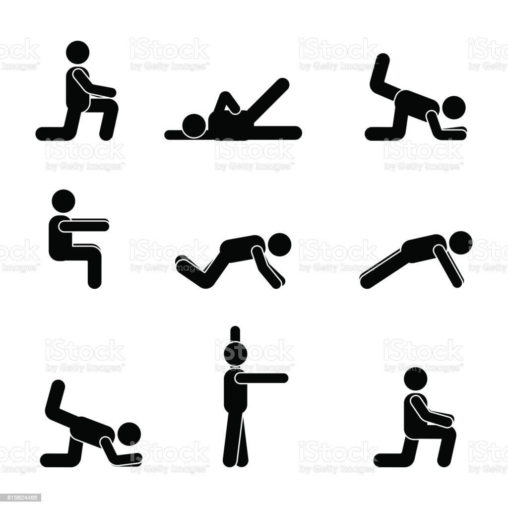 Exercises body workout stretching man stick figure. Healthy life style vector pictogram vector art illustration