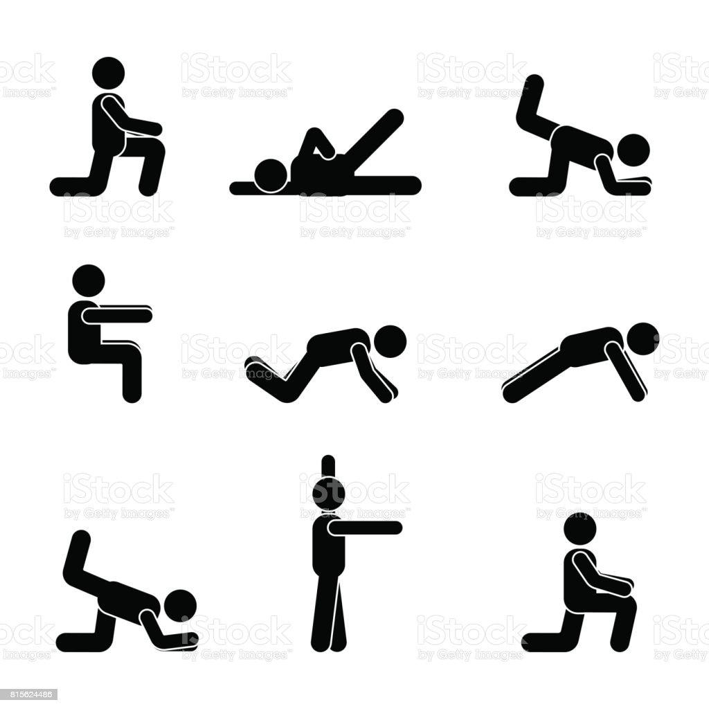 Übungen Körper Training dehnen Man Strichmännchen. Gesunde Lebensweise Vektor Piktogramm – Vektorgrafik