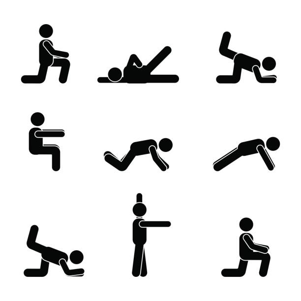 stockillustraties, clipart, cartoons en iconen met oefeningen body workout uitrekken man stok figuur. gezonde leefstijl vector pictogram - buigen lichaamsbeweging