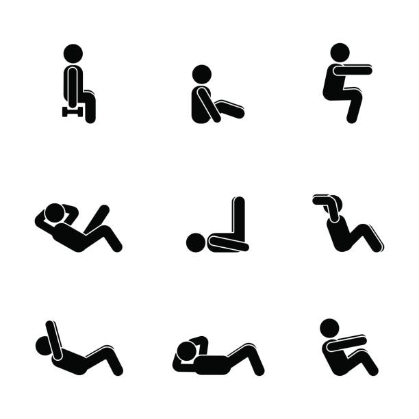 stockillustraties, clipart, cartoons en iconen met oefeningen body workout uitrekken man stok figuur. gezonde leefstijl vector illustratie pictogram - buigen lichaamsbeweging