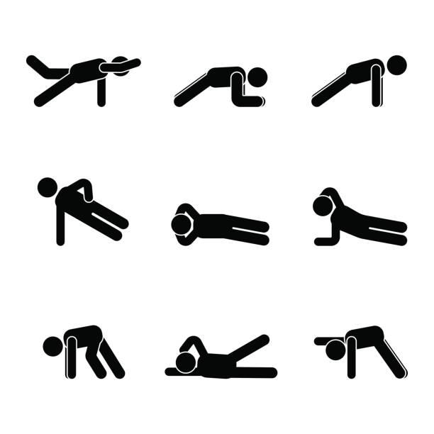 ilustrações, clipart, desenhos animados e ícones de exercícios de treino alongamento homem stick figura do corpo. estilo de vida saudável pictograma de ilustração vetorial - personal trainer