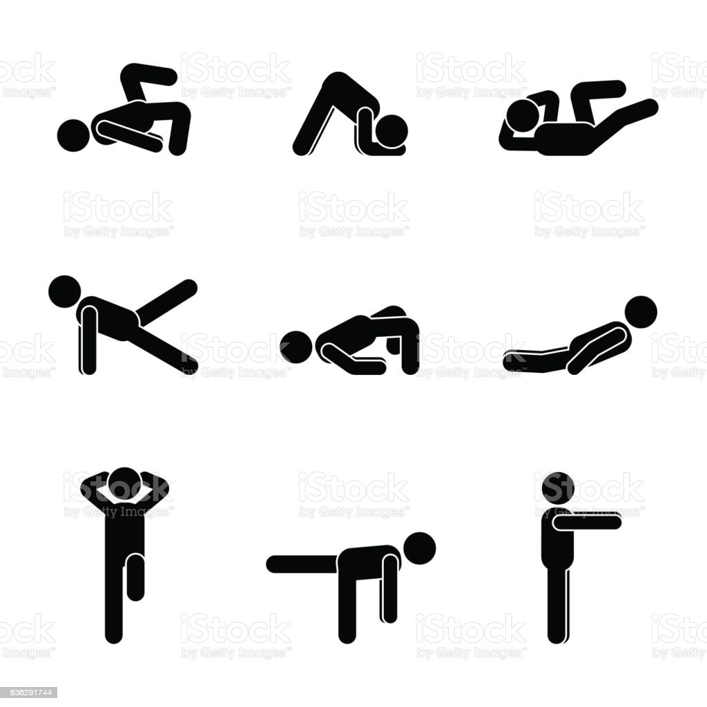 Exercises body workout stretching man stick figure. Healthy life style vector illustration pictogram vector art illustration