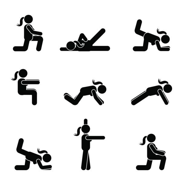 stockillustraties, clipart, cartoons en iconen met oefeningen body workout uitrekken vrouw stok figuur. gezonde leefstijl vector pictogram - buigen lichaamsbeweging