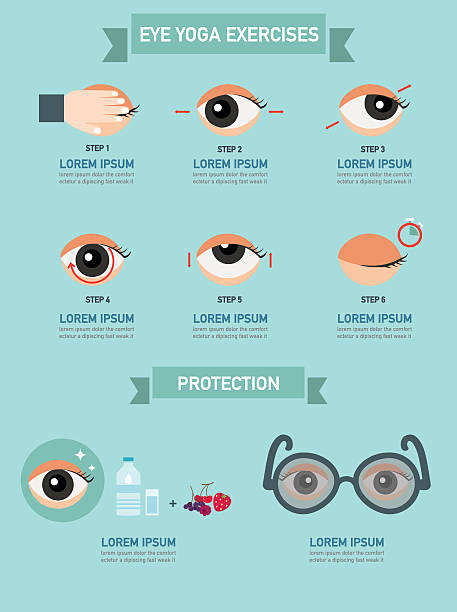 exercises for eyes,infographic,illustration - illustration optician stock-grafiken, -clipart, -cartoons und -symbole