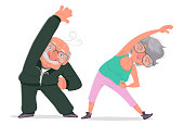 Illustration depicting an elderly couple doing stretching.