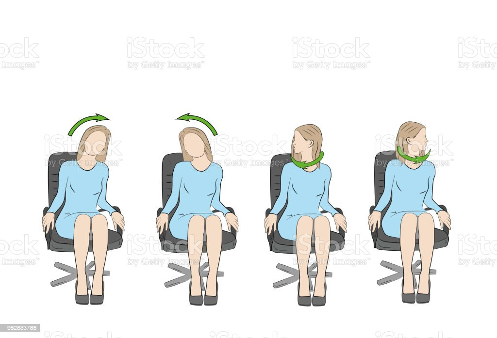 übungen Für Kopf Und Hals Im Büro Am Arbeitsplatz Vektor Stock