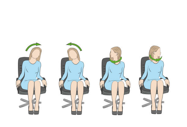 Exercises for the head and neck in the office at the workplace. vector Exercises for the head and neck in the office at the workplace. vector neck stock illustrations