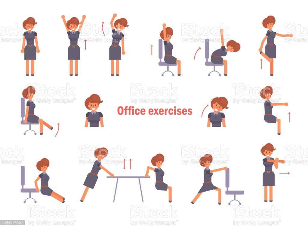übungen Für Das Büro Vektor Stock Vektor Art Und Mehr Bilder Von