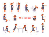 Exercises for the office. Vector. Cartoon. Isolated art on white background. Flat