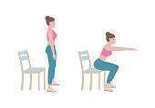 istock Exercises that can be done at-home using a sturdy chair. 1272256339