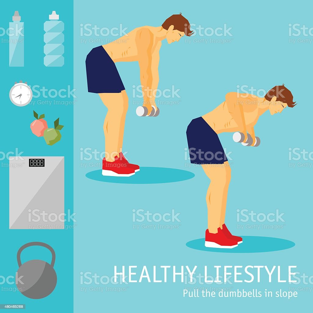 Exercises with dumbbells set. Healthy lifestyle and sports theme. vector art illustration