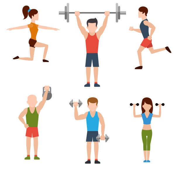 Übungen mit Hanteln und warm-up-Symbole – Vektorgrafik