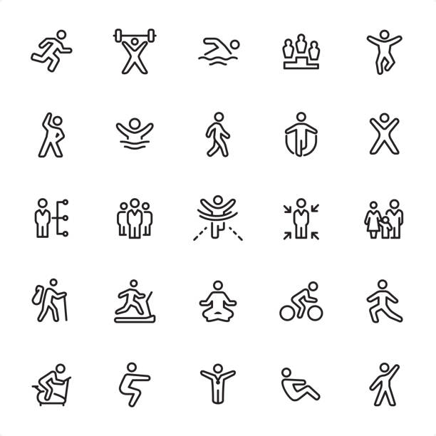 Exercising and Sport - Outline Icon Set Exercising and Sport - 25 Outline Style - Single black line icons - Pixel Perfect / Pack #90 Icons are designed in 48x48pх square, outline stroke 2px.  First row of outline icons contains: Running, Weightlifting, Swimming, Winners, Jumping;    Second row contains: Exercising, Diving, Walking, Skipping, Gym;  Third row contains: Training Plan, Group of People, Finishing, Individual Training, Family Sport;  Fourth row contains: Hiking, Treadmill, Yoga, Cycling, Stretching;  Fifth row contains: Exercise Bike, Squats, Winner, Sit - ups, Aerobics.  Complete Grandico collection - https://www.istockphoto.com/collaboration/boards/FwH1Zhu0rEuOegMW0JMa_w active lifestyle stock illustrations