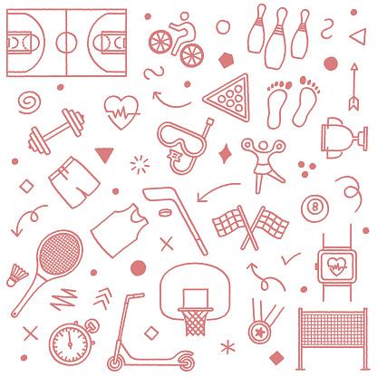 Exercising in Gym Doodle Pattern Illustration