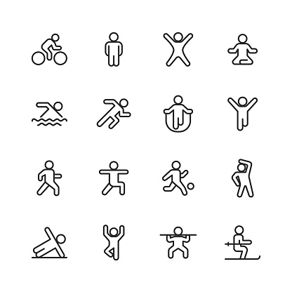 Exercising Line Icons. Editable Stroke. Pixel Perfect. For Mobile and Web. Contains such icons as Exercising, Running, Cycling, Yoga, Weightlifting, Stretching, Soccer, Football, Tennis, Basketball, Fighting, Aerobics, Bodybuilding, Walking.