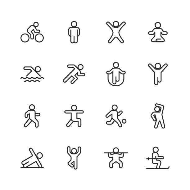 Exercising Line Icons. Editable Stroke. Pixel Perfect. For Mobile and Web. Contains such icons as Exercising, Running, Cycling, Yoga, Weightlifting, Stretching, Soccer, Football, Tennis, Basketball, Fighting, Aerobics, Bodybuilding, Walking. 16 Exercising Outline Icons. race distance stock illustrations
