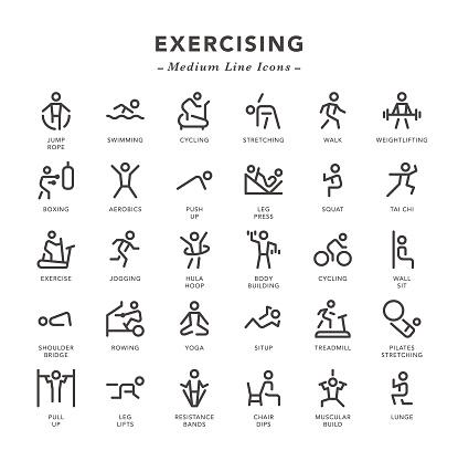 Exercising - Medium Line Icons