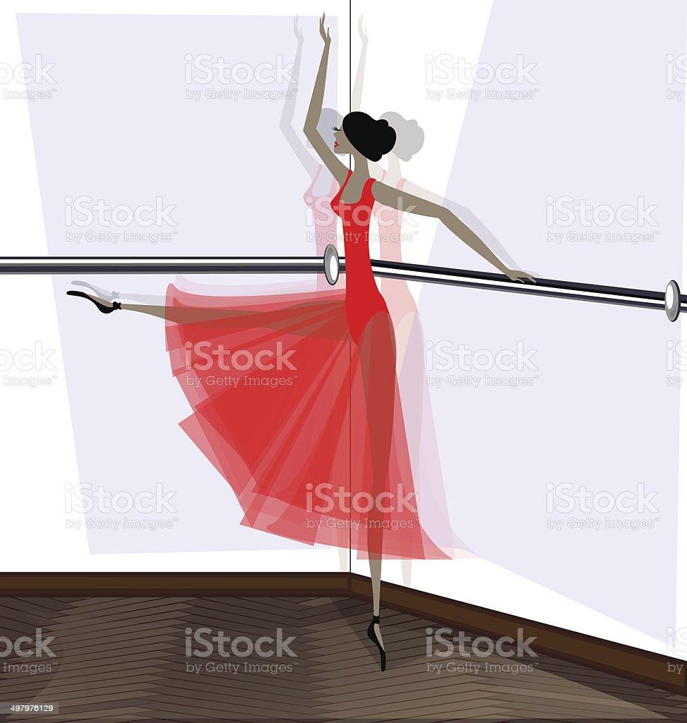 exercising of ballet dancer in red vector art illustration