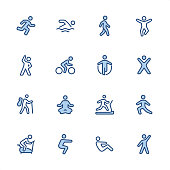 16 indigo and blue Exercising icons set #90\nPixel perfect icon 48x48 pх, outline stroke 2 px.\n\nFirst row of  icons contains:\nRunning, Swimming, Walking, Jumping;\n\nSecond row contains: \nExercising, Cycling, Skipping, Gym;\n\nThird row contains: \nHiking, Yoga, Treadmill, Stretching; \n\nFourth row contains: \nExercise Bike, Squats, Sit-ups, Aerobics.\n\nComplete Indigico collection - https://www.istockphoto.com/collaboration/boards/t5bVQfKvf0a-h6WHcFLuIg