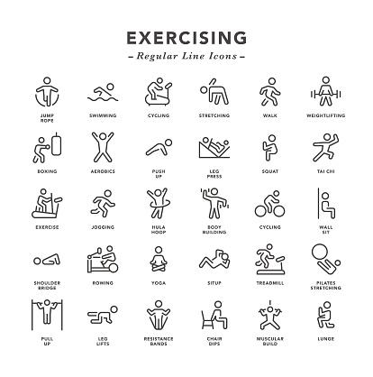 Exercising - Regular Line Icons