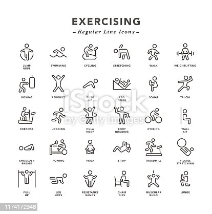 Exercising - Regular Line Icons - Vector EPS 10 File, Pixel Perfect 30 Icons.