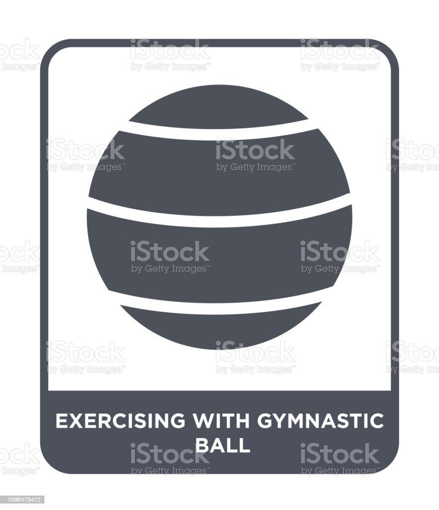 exercising with gymnastic ball icon vector on white background,...