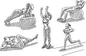 Line drawings of Exercising Woman. Elements are grouped.contains eps10 and high resolution jpeg.