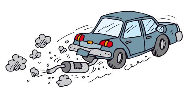 auspuff schalldämpfer autowrack - fallrohr stock-grafiken, -clipart, -cartoons und -symbole