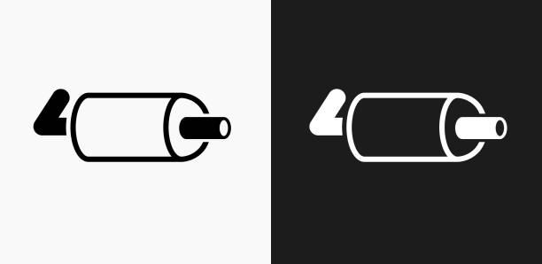ilustrações de stock, clip art, desenhos animados e ícones de exhaust pipe icon on black and white vector backgrounds - exhaust white background