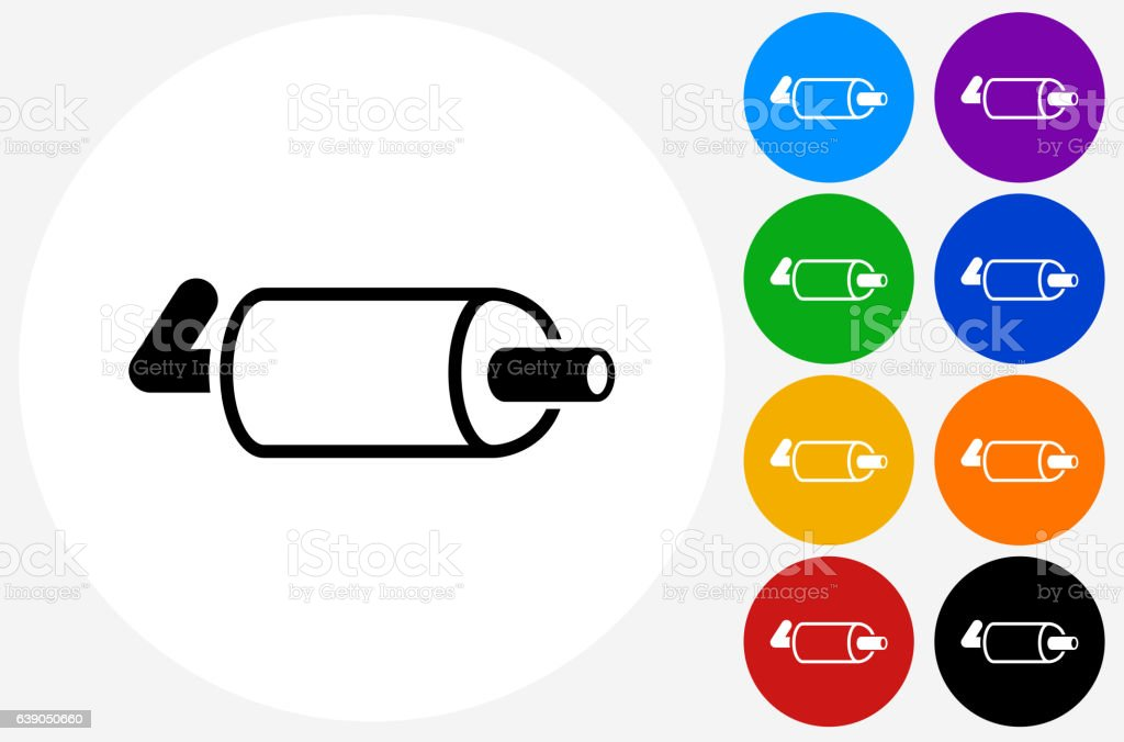 Exhaust Pipe Icon on Flat Color Circle Buttons – Vektorgrafik