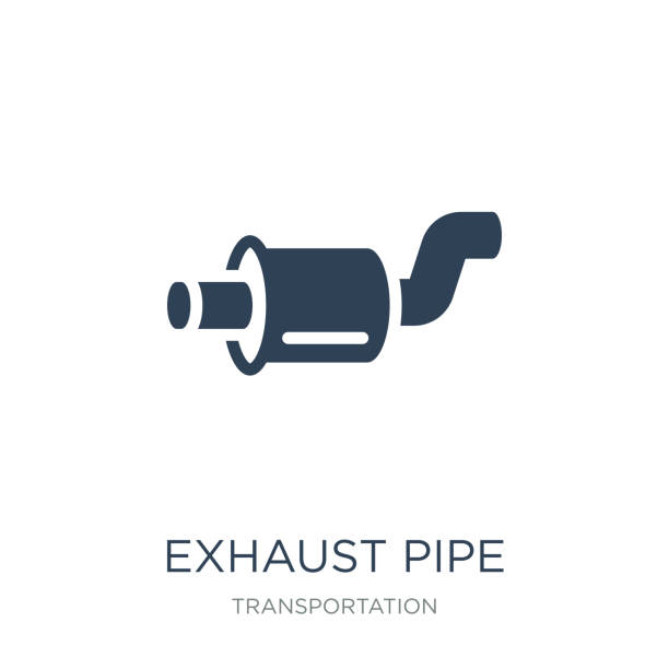 ilustrações de stock, clip art, desenhos animados e ícones de exhaust pipe icon vector on white background, exhaust pipe trendy filled icons from transportation collection, exhaust pipe vector illustration - exhaust white background