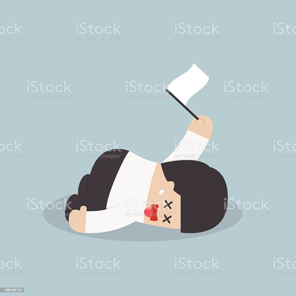 Exhausted businessman lying down on the floor and surrender vector art illustration