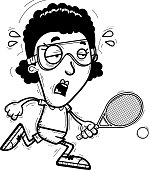 Exhausted Cartoon Black Racquetball Player