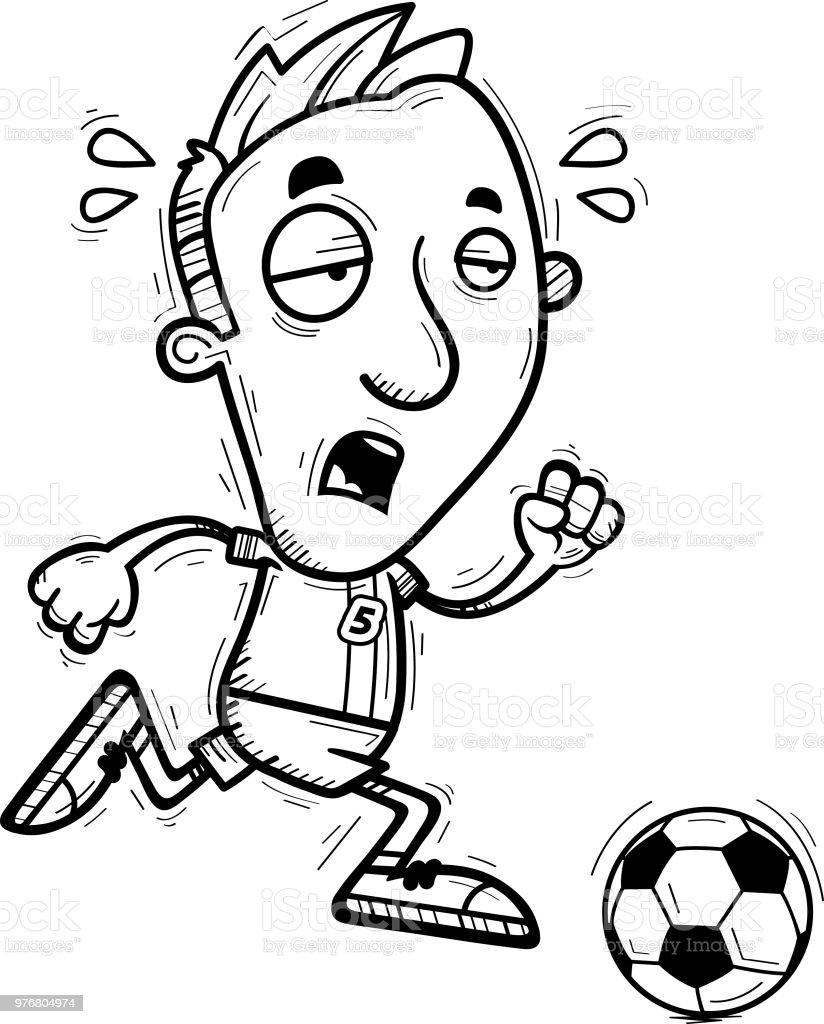 Erschopft Cartoon Fussballspieler Undtrainer Stock Vektor Art