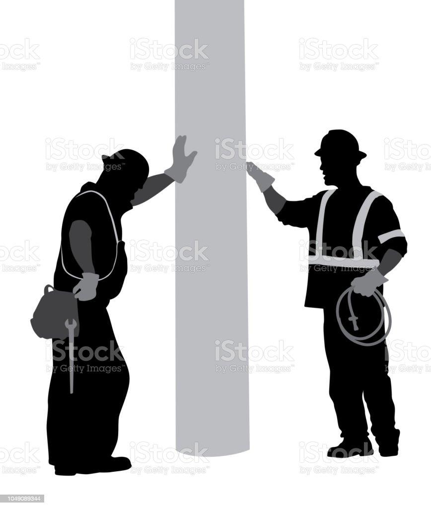 Exhausted Construction Men vector art illustration